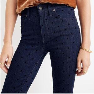 """Madewell 9"""" High Rise Jeans Flocked Dots"""